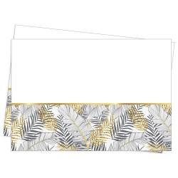 - Altın Simli Yapraklar Beyaz Plastik Masa Örtüsü 120x180cm