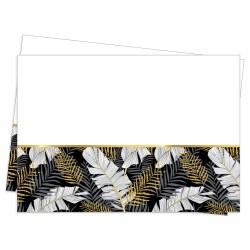 - Altın Simli Yapraklar Siyah Plastik Masa Örtüsü 120x180cm
