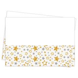 - Simli Yıldızlar Beyaz Plastik Masa Örtüsü 120x180cm