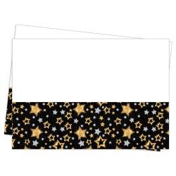 - Simli Yıldızlar Siyah Plastik Masa Örtüsü 120x180cm