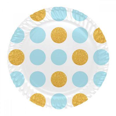 Mavi Altın Puantiyeli Karton Tabak 23 cm