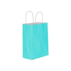Kikajoy - Mavi Büküm Saplı Kraft Çanta 15x20cm