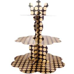 - Metalik Altın Puantiyeli Cupcake Standı