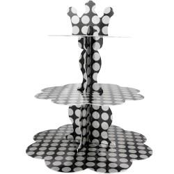 Kikajoy - Kikajoy Metalik Gümüş Puantiyeli Cupcake Standı