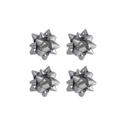 Kika - No:2 Gümüş Renkli Mat Metalik Hediye Paketi Süsü