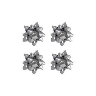 No:2 Gümüş Renkli Mat Metalik Hediye Paketi Süsü