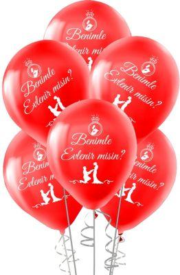 Benimle Evlenir Misin Baskılı Balon 12