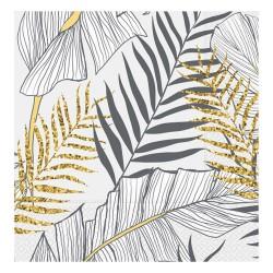 - Altın Simli Yapraklar Beyaz Kağıt Peçete 33x33cm