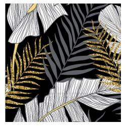 - Altın Simli Yapraklar Siyah Kağıt Peçete 33x33cm
