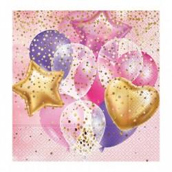 - Uçan Balonlar Pembe Kağıt Peçete 33x33 cm 20'li