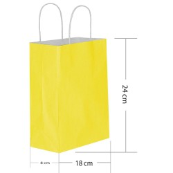 - Sarı Kraft Hediye Çantası 18x8x24 cm 25'li