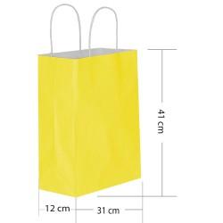 - Sarı Kraft Hediye Çantası 31x12x41 cm 25'li