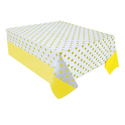 Kikajoy - Sarı Puantiyeli Plastik Masa Örtüsü 137x182 cm