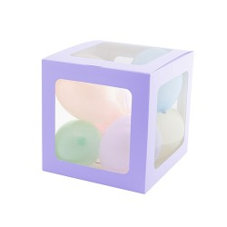 Şeffaf Balon Kutusu 25cm -Makaron Mor- - Thumbnail