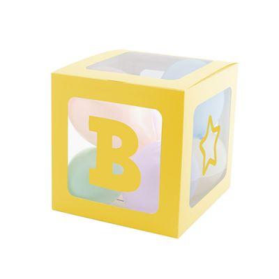 Şeffaf Balon Kutusu 25cm -Makaron Sarı-
