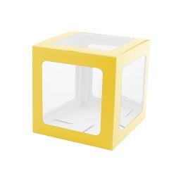 Şeffaf Balon Kutusu 25cm -Makaron Sarı- - Thumbnail