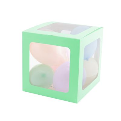 Şeffaf Balon Kutusu 25cm -Makaron Yeşil-