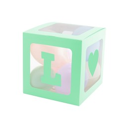 Şeffaf Balon Kutusu 25cm -Makaron Yeşil- - Thumbnail