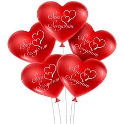Kikajoy - Kikajoy Seni Seviyorum Basklılı Kalp Balon Kırmızı 100'lü
