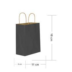 - Siyah Kraft Hediye Çantası 11x6x16 cm 25'li
