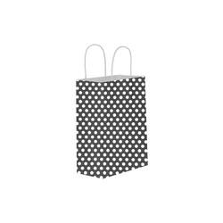 Kikajoy - Siyah Puantiyeli Büküm Saplı Kraft Çanta 11x15cm