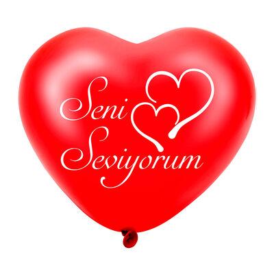 Seni Seviyorum Baskılı Kırmızı Kalp Balon 12