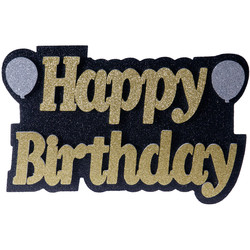 Kikajoy - Happy Birthday Balonlu Altın Strafor Süs