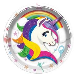 - Unicorn Renkli Karton Tabak 23 cm 8'li