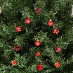 - Kikajoy Yılbaşı Çam Ağacı Kırmızı Toplu Kozalaklı Süs Seti 12'li