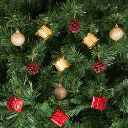 - Kikajoy Yılbaşı Çam Ağacı Kırmızı Altın Toplu Süs Seti 12'li