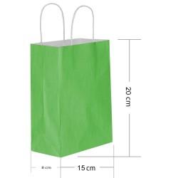 - Yeşil Kraft Hediye Çantası 15x8x20 cm 25'li