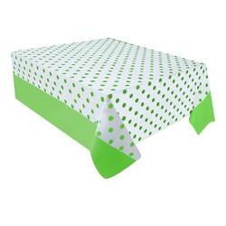 Kikajoy - Yeşil Puantiyeli Plastik Masa Örtüsü 137x182 cm